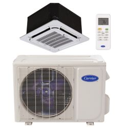 "Carrier® Performance 1 Ton Mini Split High Ceiling Cassettte Heat Pump System (1/4""-1/2"" line set) R-410a 208-230 VAC"