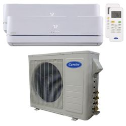 Carrier® Performance 1 1/2  Ton 2 Zone Mini Split High Wall Heat Pump System R-410a 208-230 VAC