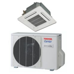 "Carrier®-Toshiba 18,000 Btu Mini Split 4-Way Ceiling Cassette Heat Pump System (1/4""-1/2"" line set) R-410a 208-230 VAC"