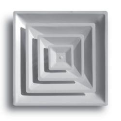"""TRUaire 2004CD/06 24"""" x 24"""" White T-Bar 3 Cone Diffuser with 6"""" Collar"""