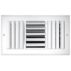 """Truaire - 08""""X08"""" 3 Way White Aluminum Adjustable Curved Blade Wall/Ceiling Register"""