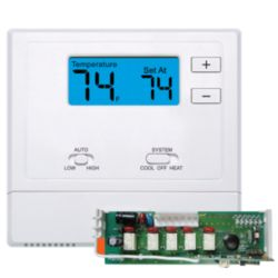 "VIVE - TRADEPRO® - Wireless PTAC Thermostat Non-Programmable, 1H/1C Conventional or 2H/1C Heat Pump w/ 2"" Sq. In Display"