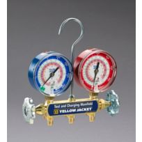 """Yellow Jacket - 42001 -  Series 41 manifold with 3-1/8""""  gauges; manifold only psi R-22/404A/410A"""