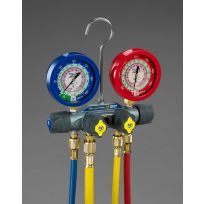 "Yellow Jacket - 49977 - TITAN 4-Valve manifold degreeF with 60""  PLUS II RYB and 3/8""  x 45 degree liquid gauges R"