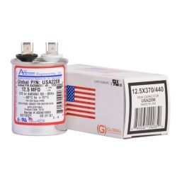 AmRad - USA2208  Run Capacitor Round 370/440V Single 12.5MFD (Made in USA)