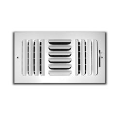 "Truaire - 400 Series 8"" x 4"" 3 Way White Fixed Curved Blade Wall/Ceiling Register"