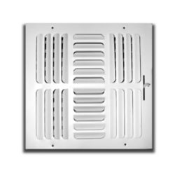 """Truaire - 12""""X12"""" 4 Way White Fixed Curved Blade Wall  /Ceiling Register"""